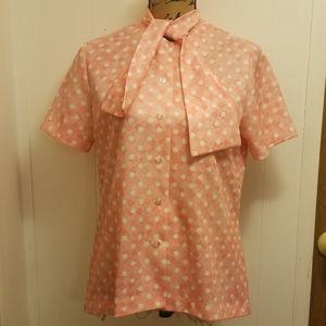 Vintage 1970s MOD Tie Neck Secretary Blouse Pink
